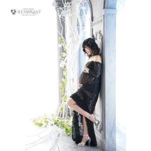 黒レース衣装×ヘッドドレス マタニティフォト